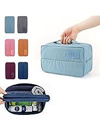 Glive's Travel Handle Divided Underwear Socks Undergarments Waterproof Pouch Organizer Bag Packing Bag