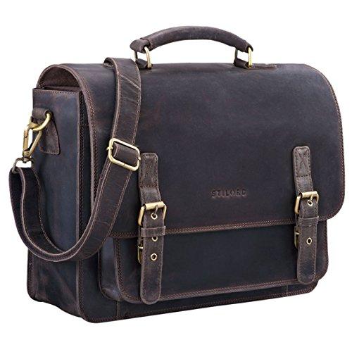 STILORD 'James' Leder Business Aktentasche für Herren Damen Vintage Umhängetasche mit 14 Zoll Laptop Fach große Ledertasche für Lehrer Büro und Arbeit, Farbe:dunkel - braun -