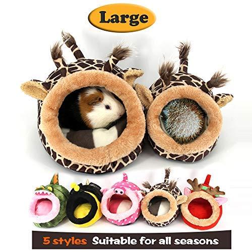 MYIDEA Meerschweinchen Bett, Igel Winter Warm Nest, Ratten Chinchillas & Kleine Haustiere Tiere Bett/Cube/Haus, Lebensraum, Leicht, Robust, Tragbar, Kissen Big Matte, Small Pet - L, Giraffe -