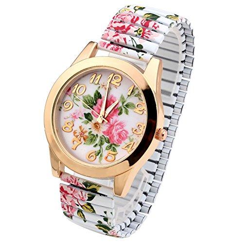 JSDDE Uhren, Damenmode Pfingstrosen Blume Armbaduhr,Basel-stil Flexband Quarzuhr(Weiß)