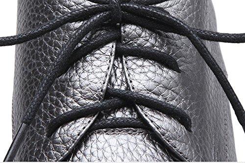 Damen Eckig Blockabsatz Schnürschuhe Niedrige Atmungsaktiv Modische Schick Arbeit Lederschuhe Grau