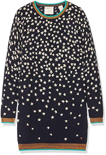 Scotch & Soda R´Belle Mädchen Kleid Knitted with Allover Print, Blau (Night 002), 152 (Herstellergröße: 12) (Belle Blau Mädchen Kleid)