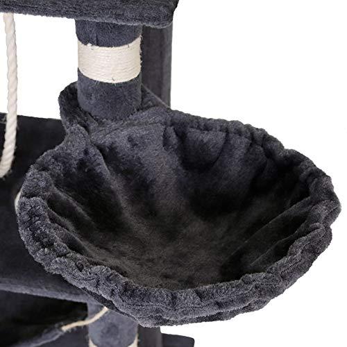Katzenkratzbaum, Kratzbaum für Katzen, 141 cm Höhe, extra breit (grau) - 6