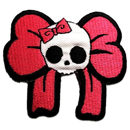 Aufnäher/Bügelbild - Totenkopf Biker Skelett Punk Emo - pink - 7,5 x 6,8 cm - Patch Aufbügler Applikationen zum aufbügeln Applikation Patches Flicken - Skelett Biker-shirt