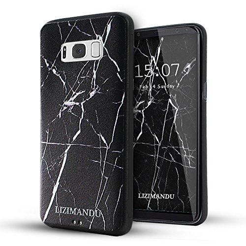 Galaxy S8 Funda,Lizimandu 3D Patrón Protectiva Carcasa de Silicona Gel TPU estrecha Case Cover Para Samsung Galaxy S8(Mármol Negro/Black Marble)