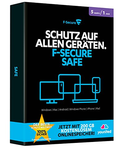 F-Secure SAFE Internet Security 2015 1 Jahr / 5 Geräte + 200GB younited 200 Gb Laptop