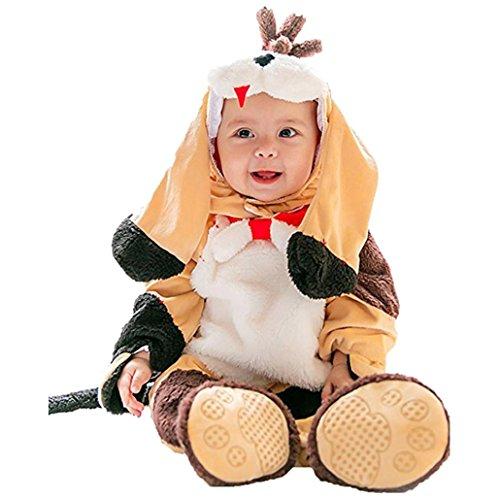 Janly Baby Halloween Tier Kostüm Hooded Bodysuit Footies Spielanzug Onesie Outfit (Größe: 90CM, Welpe)