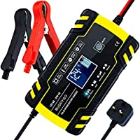 BUDDYGO Car Battery Charger, 12V/24V 8Amp Intelligent Automatic Battery Charger/Maintainer Delivers 3 Stage Charging, with LCD Screen And have 6 Charging Mode, Suitable for More Types of Batteries