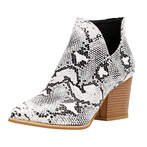 Dorical Stiefeletten mit Absatz Ankle Boots für Damen/Frauen Chelsea Winter Elegant Kurzschaft Leopard Kunstleder Reissverschluss 5 cm Stiefel Schwarz 35-43 EU(Beige,40 EU)