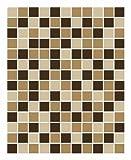 FoLIESEN Fliesenaufkleber für Bad und Küche - 20x25 cm - Mosaik beige-braun - 10 Fliesensticker für Wandfliesen
