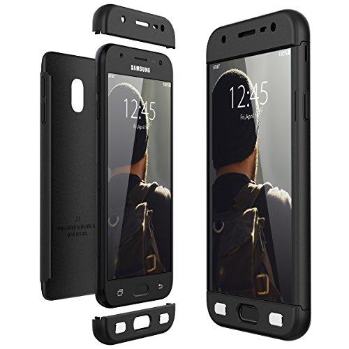 CE-Link Funda Samsung Galaxy J3 2017, Carcasa Fundas para Samsung Galaxy J3 2017, 3 en 1 Desmontable Ultra-Delgado Anti-Arañazos Case Protectora - Negro