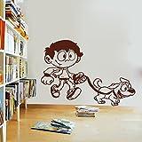 DECOR Kafe Home Decor Boy Mascot Wall Sticker, Wall Sticker For Bedroom, Wall Art, Wall Poster (PVC Vinyl, 78 X 55 CM)
