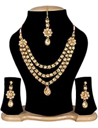 Quail Gold Plated Traditional Jewellery Kundan Pearl Necklace Set For Women / Necklace Set For Women Party Wear...