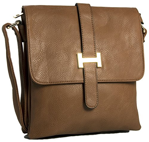 Big Handbag Shop Multipocket-Borsa da spalla, tracolla (Medium Tan (BH535))