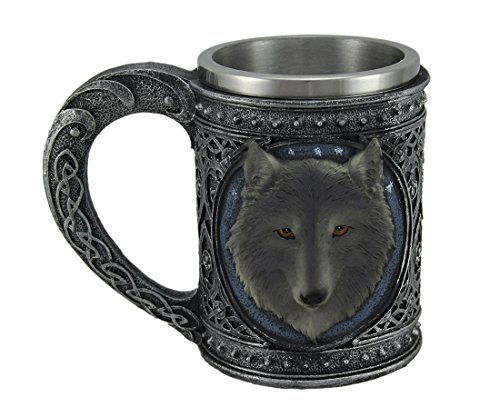Cabeza de lobo gris metálico tribal Celtic peltre acabado taza acero inoxidable con forro gran 5.5'