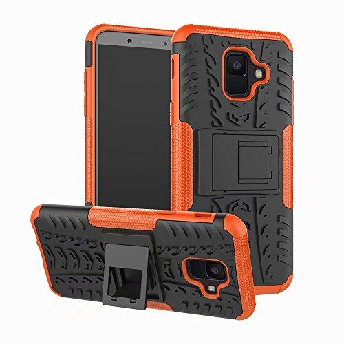 LAGUI Hülle Geeignet für Samsung Galaxy A6 2018, Stylisch Trend Schutzhülle mit Ständer, Rugged TPU/PC Dual Layer Hybrid Handyhülle, Schützt vor Stößen und Schlägen Outdoor Fall. Orange Orange Handy-fall