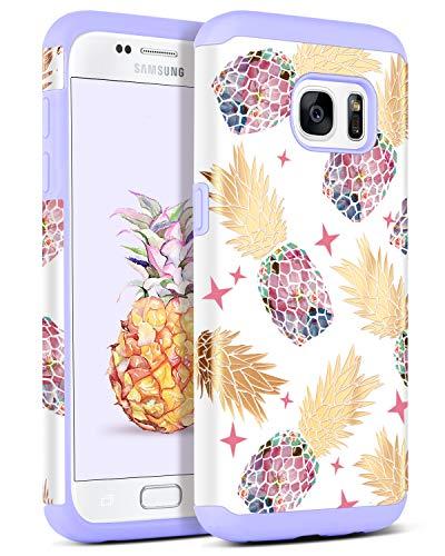 BENTOBEN Samsung S7 Hülle, Samsung Galaxy S7 Schutzhülle stoßfest Hybrid PC Schale Silikon Cover Ananas Handyhülle für Samsung Galaxy S7 G930FLila Pineapple -
