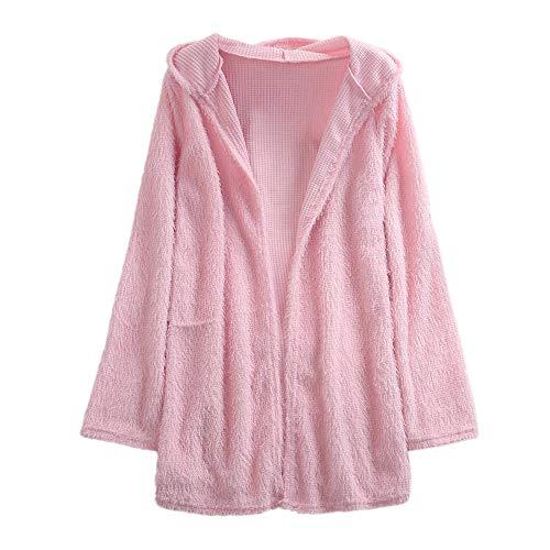 Damen Herbst Winter Strickjacke mit Kapuze und Taschen Übergröße Einfarbig Kimono Offene Cardigan Langarm Pullover Mantel S-2XL