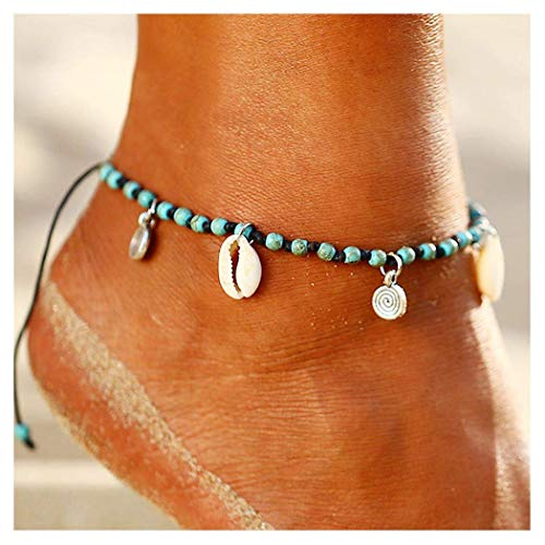 96b7f3704 Simsly Boho Turquoise Anklets Shell Ankle Bracelets Woven Beaded Foot  Jewelry for Women and Girls (
