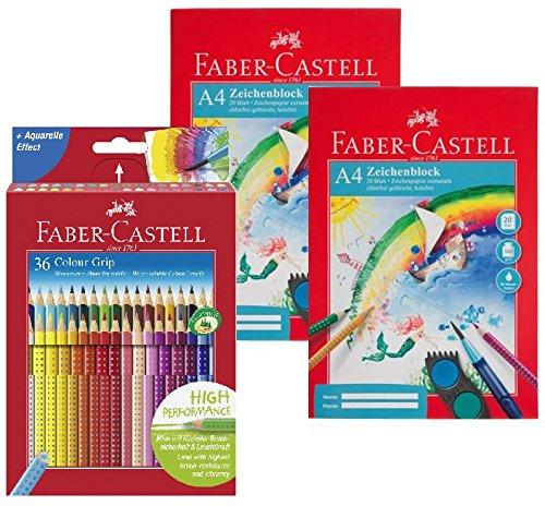 Faber-Castell 112442 - Buntstift Colour Grip, 36er Kartonetui + 2x Zeichenblock A4