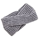 TININNA Damen Frauen Winter Warm Gestrickt Stirnbänder Crochet Strick Haarband Turban Stirnband Ear Wärmer Hellgrau