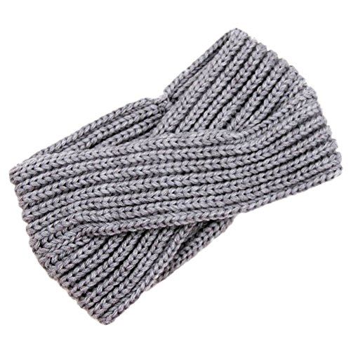 ZUMUii Butterme Twisted Knotted Crochet Strick Stirnband Damen Frauen Turban Kopftuch Bandanas Kopfband Haarband Ear Warmer Haarband (Hellgrau) -