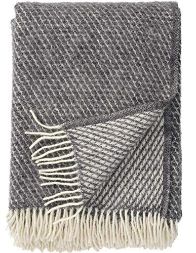 Klippan: Creme-graue Wolldecke \'Velvet\' 130x200cm aus Lambswool (grau)