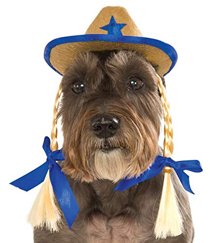 Rubies Costume Company Pet Cowgirl-Hut mit Zöpfen - Cowgirls Supplies Party