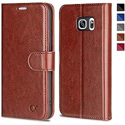 OCASE Samsung Galaxy S7 Hülle Handyhülle Samsung Galaxy S7 [Premium Leder] [Standfunktion] [Kartenfach] [Magnetverschluss] Leder Brieftasche für Galaxy S7 Braun