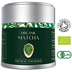 Bio Matcha Tee Pulver Japanisch 30g – Grüntee-Pulver Premium Feinste Qualität AAA Zeremonielle Klasse von Uji Japan - Zertifiziertes Bio JAS - EU Ceremonial Grade Grüntee Pulver im attraktiver Blechdose - Heapwell Superfoods (Lot 583)
