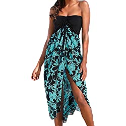 Lrud Women Summer Beach Impreso Slit Bandeau Bohemian Dress Bikini Cover Up