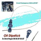 YUSHHO56T Ölmessstab, für den Innenbereich, Dip-Stick für Autos, Fahrzeuge, Motoren, Ölmessstab für Citroen C5, Peugeot 206, 306, 307, 406, 607, Blau