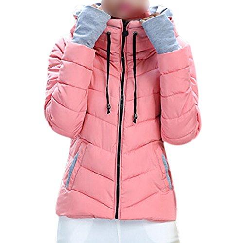 SODIAL (R) caliente de invierno nuevas mujeres coreanas adelgazan acolchada gruesa chaqueta acolchada abrigo Rosa -