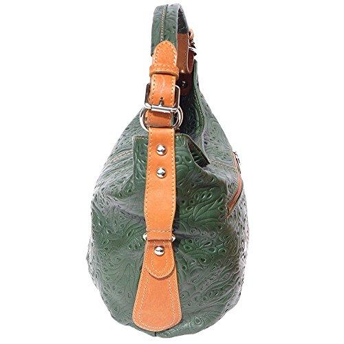 BORSA HOBO A SPALLA IN PELLE STAMPATO(3012s) Verde scuro-Cuoio