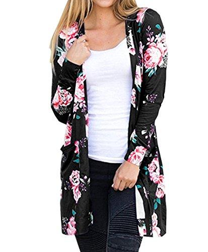 Herbst Neue Blumenmuster Strickjacken Damen Langarm Cardigan Jersey Mantel Im langen Abschnitt Jacke Kimono Outwear Pullover (Asiatische S/EU36, Schwarz) (Jersey Long Cardigan Sleeve Stretch)