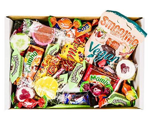 Süßigkeiten Mix Vegan Geschenk Box mit Bonbons, Lutschern, Retro Sweets uvm. (1 x 710g)