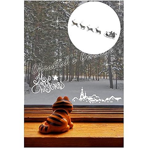 Santa Claus Is Coming to Town Show Finestra Adesivo Artistico Da Parete Decorazione Di Natale, marrone, Inside Glass for Outside