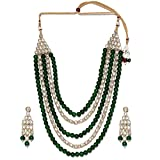 Aheli Fancy 4 Layered Lange Kundan Perlenkette und Ohrringe Set/Hochzeitsschmuck Set (Grün) für Damen