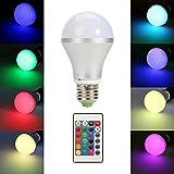 TKOOFN 5W E27 RGB LED Lampe Glühbirne Glühlampe LED Leuchtmittel Farbwechsel Licht mit IR Fernbedienung - Energieklasse A (5050, E27 RGB)