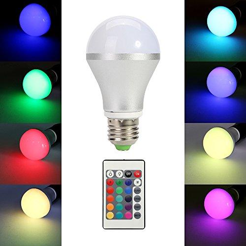 TKOOFN 5W E27 RGB LED Lámparas Bombillas Multicolor Ajustable con Control Remoto Mando infrarrojo - Clase Energética
