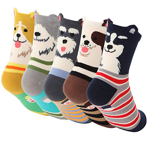 womens-cartoon-dogs-socks-novelty-welt-casual-cotton-socks-5-pack
