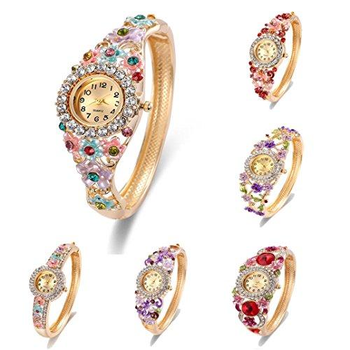 Toamen Women Vintage Rhinestone Crystal Bracelet Dial Analog Quartz Wrist Watch