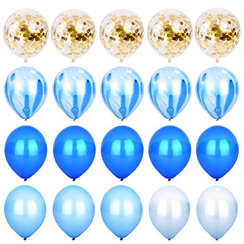 ti Luftballons Achat Marmor Streifen Party Ballon [12 Zoll, Packung mit 20] Metallic Latex Luftballons für Baby Shower Geburtstag Hochzeit NYE Party Dekoration Supply - Blue Set ()