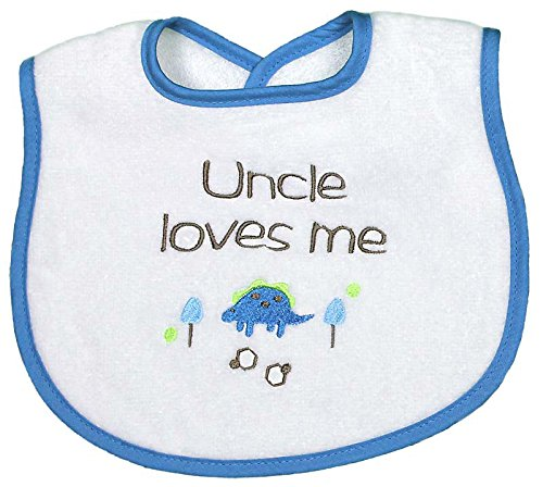 Raindrops Uncle Loves Me Embroidered Bib, Royal Blue