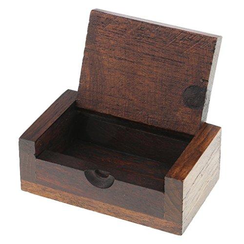 Tupfer Box (Baoblaze Tragbare Zahnstocher-Halter Mini Holz Box Tupfer Q-Spitze Etui Halter - Braun 02)