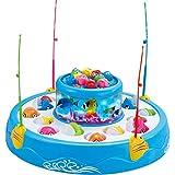 Juguete Eléctrico Luz Música Captura de Peces Que Giran Imán Niños Azul