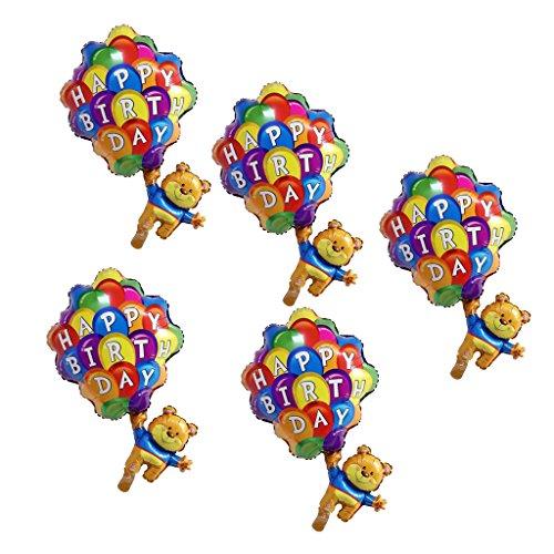 Fenteer 5stk. Bär Fallschirm Folienballon Luftballon Dekoration Spaßparty Tischdeko