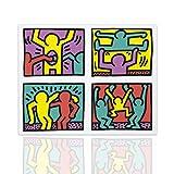 Décoration murale Keith Haring Tribute Pop Shop Quad - décoration pop art sur toile prêt à accrocher - disponible en différentes dimensions - Declea