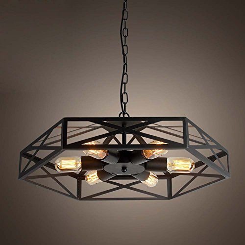 Modeen Weinlese-geometrisches Eisen-Decken-hängendes Licht 6 helles industrielles Art-Mattschwarz-Eisen-Käfig-hängende Lampe - Art-haar-eisen