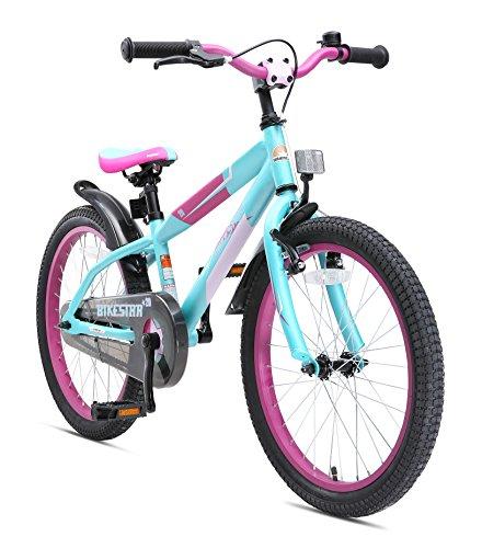 fahrraeder maedchen BIKESTAR Premium Sicherheits Kinderfahrrad 20 Zoll für Mädchen und Jungen ab 6 Jahre ? 20er Kinderrad Mountainbike ? Fahrrad für Kinder Berry & Türkis